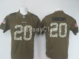 Wholesale New NWT Hot Eagles Brian Dawkins Salute To Service Stitched Army Green Embroidery Logos Men s America Football Jerseys Uniforms