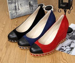 Lady Wedge Shoes 10CM Heels 1CM Platform Suede Leather Chains Design 3Colors High Quality Original Package (Dust Bag,Gift Box) #36C1