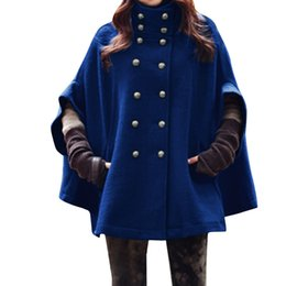 Wholesale Women s Cape Poncho Chuvivi Apparel Dolman Sleeve Stand Collar Double Breasted Worsted Pullover Outerwear Coats