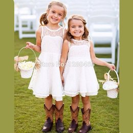 2016 Short Vintage Lace Flower Girl Dresses for Summer White Communion Dress Robe Enfant Fille Mariage