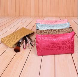 Compra Online Monederos de las señoras de color beige-Señora carta imprimir lMakeUp bolsa cosmético compone el bolso de embrague Colgante organizador de la joyería del viaje kit de baño monedero ocasional del color 7