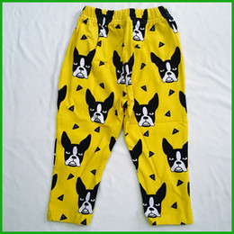 dog print boys girls long pants summer sports casual long-sleeved trousers yellow solid children pants hot selling new fashion