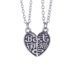 Wholesale quot Best Friends quot HandStamped Puzzle Necklace Broken Heart Pendant Vintage Couple Necklaces Personalized Gift for Friends