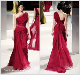 Unique Design Wine Red Evening Dress Elie Saab One Shoulder Floor Length Long Chiffon Special Occasion Dress Runway Dress Prom Party Gown