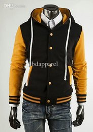 Coton ouaté korean veste de baseball en Ligne-Gros-Hommes Femmes 2016 Nouveau Designer coréenne Fashion College Varsity Letterman capuche Hoodies Fleece Baseball Jacket sweatshir'S