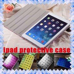 Wholesale ipad Protective Case Laser Diamond Leather Cases Folding Folio Cover For iPad iPad Air Mini