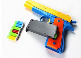 Wholesale 1pcs Classic m1911 nerf Toys Mauser pistol Children toy guns Soft Bullet Gun plastic Revolver Kids Fun Outdoor game shooter safety