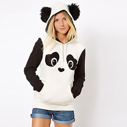 Wholesale-2016 Size S-XXL autumn winter panda hoodie jacket lady animal hoodie women panda sweatshirt with ears Cosplay Animal tracksuits