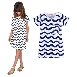 Wholesale ins Childrens Dresses for Girls Dress Girl Kids Clothing Cartoon Wave Printed Princess Dress Summer Dresses Enfant Clothes