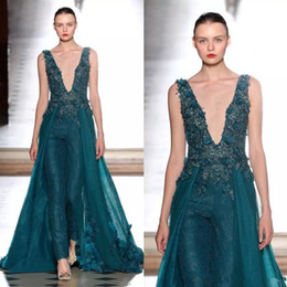 2019 Fashion Lace Jumpsuit Evening Dresses With Overskirt Beaded Prom Gowns Vestidos Festa Tulle Deep V Neck Sequined Formal Party Dress