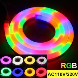 Wholesale New arrive waterproof LED flexible neon strip soft tube lights RGB leds m AC V V outdoor building bridge decotation
