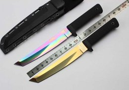 Wholesale Cold Steel color blade Recon Tanto Cr15Mov Fixed blade knife ABS galvanizing straight knives huting tool KYDEX Sheath