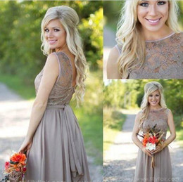 Tan New Country Style Bridesmaid Dresses Jewel Sheer A Line Knee Length Summer Beach Mini Cocktail Short Maid Of Honor Party Gowns
