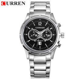 CURREN 8045 Full Steel Dial Wristwatches fallow concise style Watches False two eyes business affairs Men's Quartz calendar watch