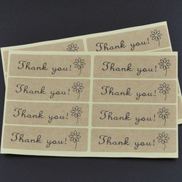 "Free Shipping Kraft paper self-adhesive ""thank you"" labels Kraft Sticker Labels 100pcs lot Thank You kraft sticker labels Sealing adhesive"