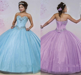Sparking Sequins Sweet 16 Quinceanera Dresses with Lihgt Sky Blue Ball Gown back Corset Vestidos de Festa 15 years Girl Prom Gowns