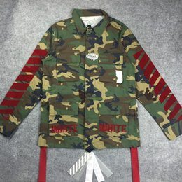 Wholesale Top version OFF WHITE new C O Flocked red Stripe EMBROIDERED Camouflage Field camo Jacket off white virgil abloh