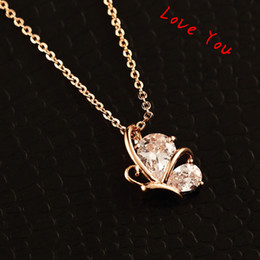 Butterfly Pendant Necklace Fashion Zircon Crystal Choker Necklace Gold plated Chain Necklace Collar Jewelry for Women Accessories
