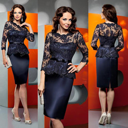 Elegant 2016 Navy Blue Lace Illusion 3 4 Long Sleeve Knee-Length Mother Of The Bride Dresses Cheap Jewel Beaded Sash Formal Gown EN6218