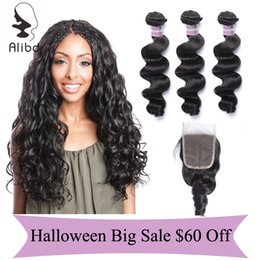 Alibd Cheap Deals Virgin Brazilian Bundles With Closure Smooth Body Wave Remy Human Hair Wefts 3 Pcs And Good Quality Top Lace Closure