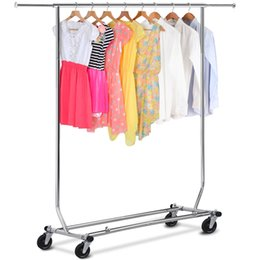 Wholesale Chrome Heavy Duty Commercial Grade Clothing Garment Rolling Collapsible Rack US
