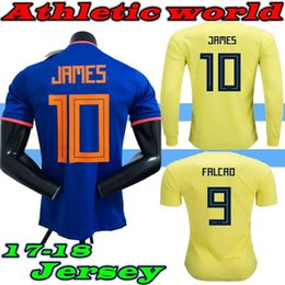 Colombia Long sleeve 2018 World Cup Colombia home yellow soccer jersey 17 18 away blue FALCAO JAMES CUADRADO TEO BACCA football shirts