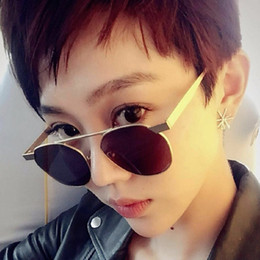 Compra Online Gafas de sol de color rosa-Gafas de sol para hombre de metal de metal de calidad Gafas de sol para mujer de gafas de sol redondas