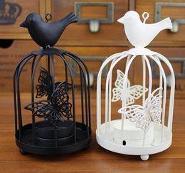 Wholesale Fashion Hot Zakka Candlestick fashion white black iron birdcage mousse Candle Holders wedding favor