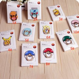 Wholesale 2016 Poke Go Pikachu Elf Ball Phone Cell Ring Holders Cartoon Action Figure Back degree Remove Mobile Mounts Acrylic Package XL P113