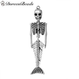 "Pendants Skull Mermaid Skeleton Antique Silver Halloween Skull Carved 73mm(2 7 8"")x 18mm(6 8""), 3 PCs 2016 new Free shipping jewelry making"