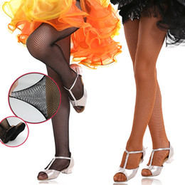 Pieds en nylon à vendre-Professional Girls Adults Hard Stretch Fishnet Latin Dance Tights Seamless Dark Tan Black Latin Pantyhose Foot Pad For Women