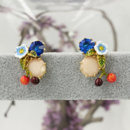 Wholesale new mini cherry flowers modeling protein gem earrings welcome to sky2012 store to buy