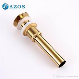 Wholesale Bathroom Sink Drainer Brass Push Dwon Pop up Golden Color Overflow Hole Basin Parts Faucet Accessories PJXSQ006G Y