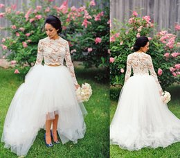 Two piece wedding dresses 2016 bridal lace sheer top robe short front long back hi low long sleeves lace bridal wedding gown