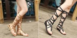 Wholesale New Fashion Women s Sexy Open Toe Flat Heel Hollow Roman Shoes Summer Lady Gladiator Roman Boots Sandals C729