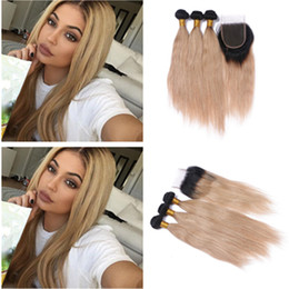 New Arrival Ombre Straight Hair With Top Closure Two Tone 1B 27 Honey Blonde Ombre Human Hair Bundle Deals With 4*4 Lace Closure