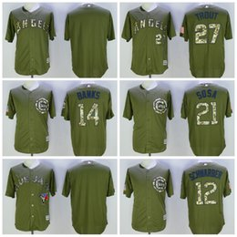 Wholesale Game Chicago Cubs Kyle Schwarber Green Salute to Service Flexbase Baseball Jerseys Los Angeles Angels Mike Trout Ernie Banks
