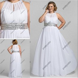 Wholesale 2016 Cheaper Women Long Dress Plus Size Gown White Chiffon Dresses Beaded Waist Simply Outsize Big Women Wedding Dresses for Bridal