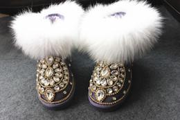 Free shipping 2017 new in Australia The new bootsHandmade fox fur dream purple genuine leather snow boots scrub invisible elevator