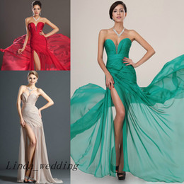 Free Shipping High Quality Sweetheart Evening Dress New Red Champagne Emerald Green With Slit Chiffon Long Pleating Formal Party Dress
