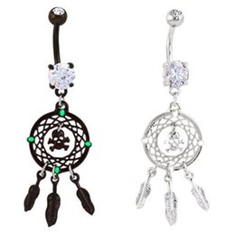 Wholesale Cool Belly Button Rings - Cool Hot New Rhinestone Crystal Dream Catcher Skull Feather Dangle Belly Button Navel Ring Body Piercing