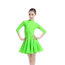 New Girls Kids Candy Color Ballroom Dance Dresses Three Quarter Sleeve Dance Practice Clothing Toddler Turtleneck Party Dress