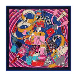 130cm*130cm 100% Silk Euro Brand Style Fashion Paris Girl Handbag and Belt Printed Silk Square Scarf Femal Fashion Shawls