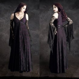 Wholesale Custom Made Cosplay Halloween Costumes For Women Sexy Sleeveless Prom Gowns Lace Vampires Dress Floor Length Disfraces Christmas adult
