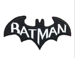 Wholesale 30pcs DC Batman Cape Comic Book Logo white Letters Embroidered Iron on Patch Cartoon Fabric Badge Children DIY Clothing Accessories