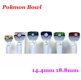Wholesale Poke ball glass bowl ball rig glass Poke Mon Bowl mm mm Male Joint Grinder Poke Ball Cartoon Pipe Bong Accessory Retail