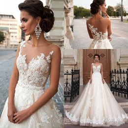 Wholesale Vintage Arabic Princess Milla Nova Wedding Dresses Lace Turkey Women Country Western Bridal Gowns Sheer Neck Sexy Back Button Covered