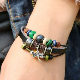 Wholesale Brand New Men And Women Wrap Bracelet Braided Leather Multi layer Beaded Strand With Dragonfly Charm DIY Fashion Jewelry Punk Rock Style