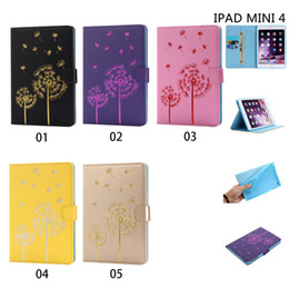 Wholesale For iPad MINI Flip Capa case solid color embossed Dedilion patterns Soft tpu PU Leather tablet Bag customized image Supported