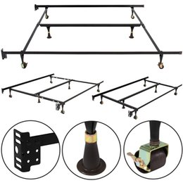 Wholesale Steel Framed Furniture - Metal Bed Frame Adjustable Queen Full Twin Size Center Support